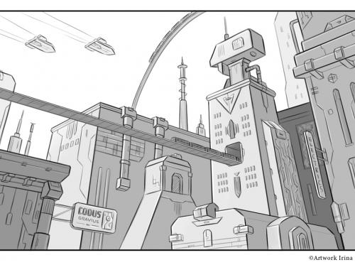 Sci-fi city scene (Visual development)